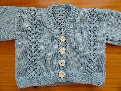 Baby Cardigan In Med Blue Chest 56Cm