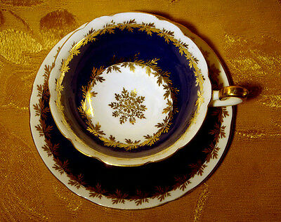 Shelley Cobalt Blue And Gold Cup & Saucer Made In England