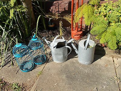 Garden Items-Old Watering Cans And Decor Birdcages-Tea Light Holders.