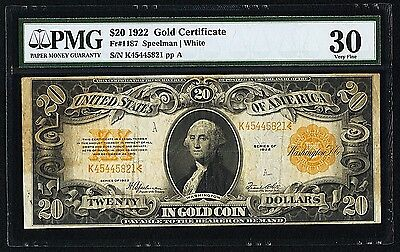 1922 $20 Gold Certificate Fr.1187 PMG-30 Problem Free Note!