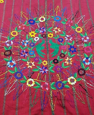 Uzbek Suzani Vintage Antique Hand Embroidery Red Floral Wall Hanging Quilt 55x39