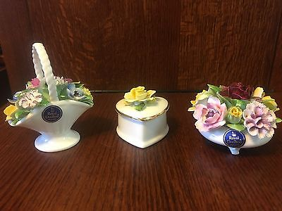 Royal Doulton Bone China 3 Piece Flower Arrangements And Trinket Box