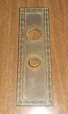 Vintage Yale Cast Brass Door Knob Back Plate - Ornate - 10 x 3