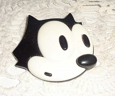 Vintage Large Rare Felix The Cat Pin Brooch Plastic 3D Face Head