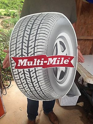 Vintage Collectible Original Advertising Metal Multi-Mile Tire Sign WOW !!!!