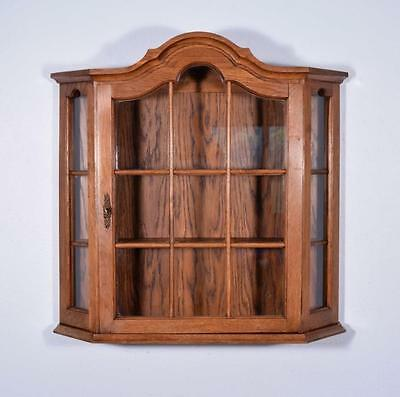 Vintage Dutch Oak Wall Display Cabinet Antique Medicine/Curio Cabinet