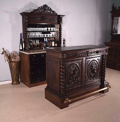 Antique French Bar and Back Bar with Hunting/Black Forest Theme