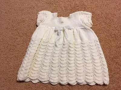 Vintage 1950s hand knitted cream baby dress