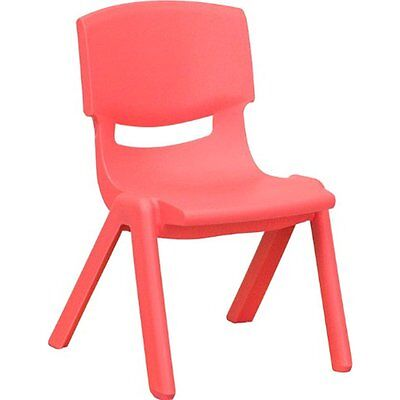 Flash Furniture YU-YCX-003-RED-GG Red Plastic Stackable School Chair with Seat
