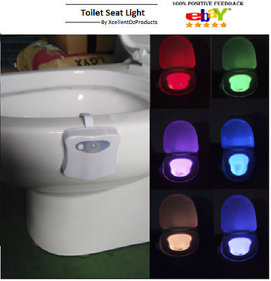 8 color Toilet Light Motion Sensor Activated Led Night Seat Bathroom Bowl Auto