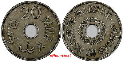 Palestine Copper-Nickel 1933 20 Mils Mintage-250,000 XF Condition RARE DATE KM#5