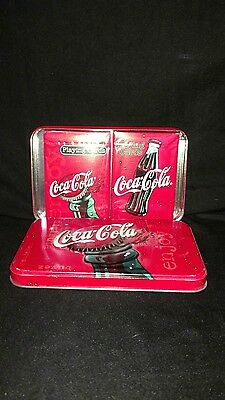 Coca Cola playing cards in tin box.