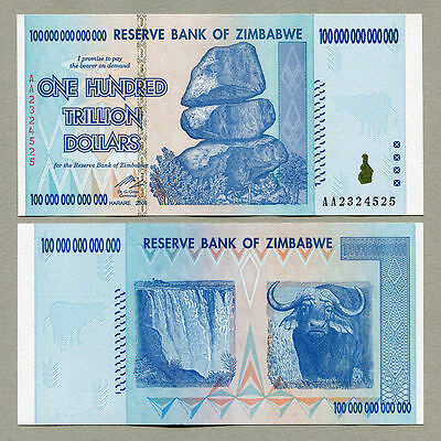 100 Trillion Dollar Zimbabwe Zim Note Currency 2008 Aa /one Note - Fast Shipping