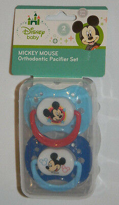 New Disney Baby Cudlie Blue Red Mickey Mouse 2 Pk Orthodontic Pacifiers Boy Set