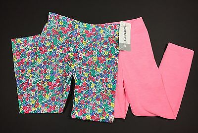 New Carter's size 2T 2 years girls leggings set lot pink flowers Spring NWT