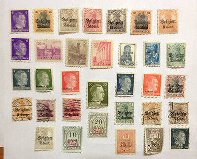 Germany WW1/WW2 occupation various countries 33 mint/used stamps.