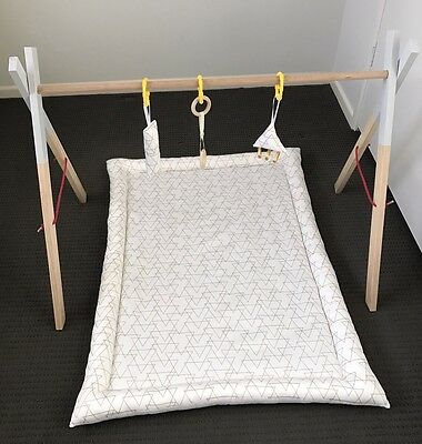 Hand Made Wooden Baby Play Gym With Reversible Activity Mat And Toys