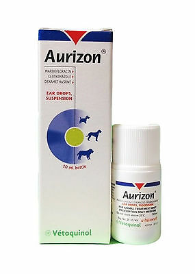 Aurizon Ear Drops Suspension Otitis Dog Inflammation Bacterial 10 Ml.
