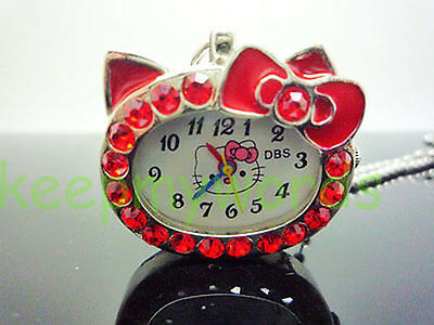 Hello Kitty Red Crystal Diamond Case Necklace Pocket Pendant Watch Quartz Gift