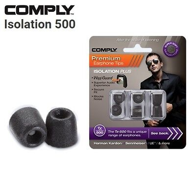 Comply Foam TX-500 Isolation + WaxGuard 3 Pairs Earphone Tips Medium Black TS