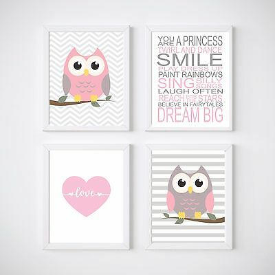 4 Set Owl Nursery Bedroom Decor Kids Wall Prints, A4 Prints