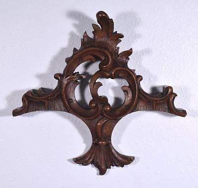 "*14"" French Louis XV Deeply Carved Antique Pediment/Crest in Walnut Wood"