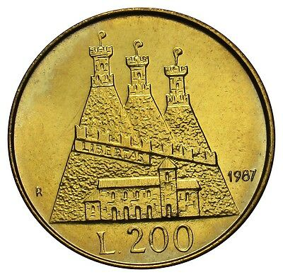 San Marino 200 Lire coin 1987 KM#208 Resumption of Coinage UNC VE01 (a3)