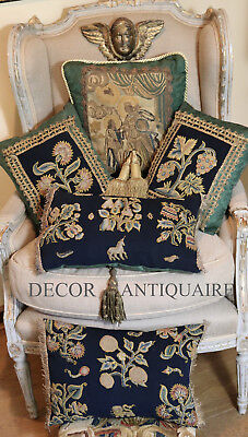 17th Century French Aubusson Verdure Tapestry Panel Figural Scene