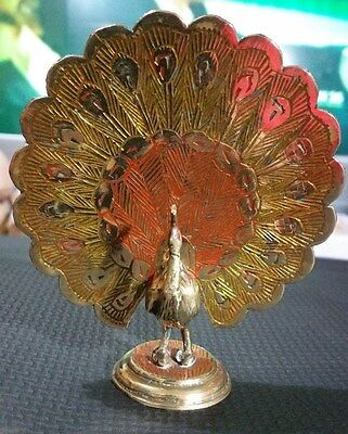 """VINTAGE SOLID BRASS """" PEACOCK STATUE ORNAMENT"""" 12cm Tall"""