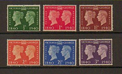 GB GVI 1940 Centenary Of First Postage Stamp Mint Set SG479-484