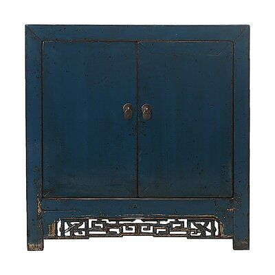 Blue Vintage Chinese Cabinet with Geometric Carvings