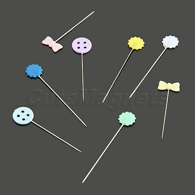 100pcs Flower Button Head Pins Sewing Patchwork Sewing Pins In Box Mix Colours