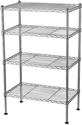 Wire Shelving Unit Welded 4-Shelf, 32 in. H x 20 in. W x 12 in. D, Light Weight
