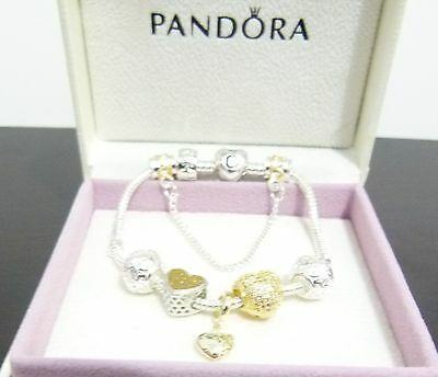 Pandora Bracelet, Gold Cubic Zirconia Hearts beads & Charm , Pretty gift