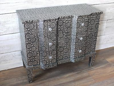 Embossed Modern Black/Silver 6 Drawer Cabinet Chest Of Drawers