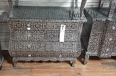 Embossed Modern Black/Silver 8 Drawer Cabinet Chest Of Drawers