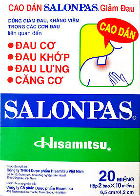 Salonpas Pain Relieving Patch Hisamitsu -  1 Box 12 Patches - Free Shipping