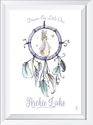 Personalised Peter Rabbit Dreamcatcher PRINT gift christening baby birth picture