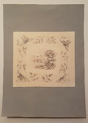 19th century pencil of bridge and trees with butterfly border