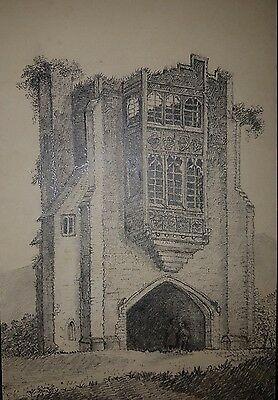 Circa 19th Century Pencil Drawing 'Remains of Cerne Abbey: Dorset'
