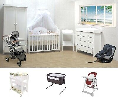 Baby Bed Cot Pram Stroller Car Seat Mattress Package Deal White Walnut Brown