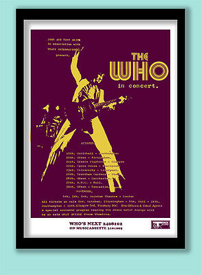 THE WHO POSTER . WHO'S NEXT ALBUM /1971 TOUR PROMO . LARGE A2 (40X60 cm ) PRINT