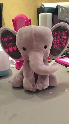 PERSONALIZED ELEPHANT FOR NEW BORN BABY Great gifts! Custom Birth stat elephants