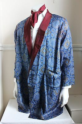 """vintage TOOTAL blue paisley silky dressing gown smoking jacket 60s mens M 42"""""""