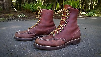 RED WING (09050) Old School Moc Toe Leather Classic Work Boots (Size 10 A) USA.