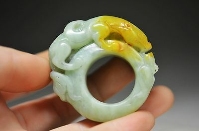 Lovely Chinese old jade hand carved BanZhi--beast ss12