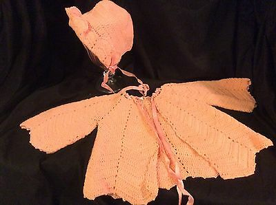 VTG Hand Knit / crocheted Baby Shawl & hat light coral / pink crochet trimmed