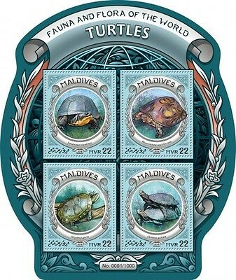 Z08 IMPERFORATED MLD16308a MALDIVES 2016 Turtles MNH