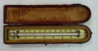 Cased Antique Victorian Travel Pocket Thermometer In Leather Case Portable Small