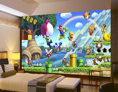 HQ Wall Mural Super Mario Bros Friends Games  Photo Wallpaper Kids Room 130
